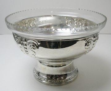 sølv opsats med glasindsats