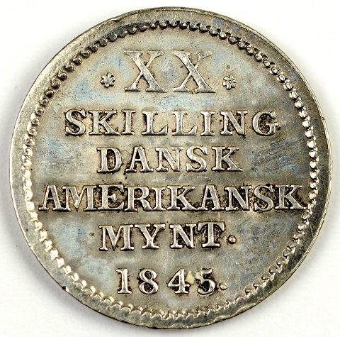 Dansk amerikansk mønt 20 skilling sølv 1845 - H 13 - KM 17 | ebuy.dk