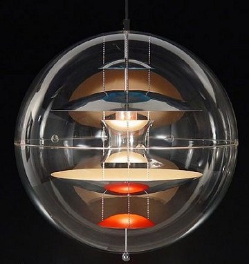 verner panton globe lampe pendel i transparent akryl. Black Bedroom Furniture Sets. Home Design Ideas