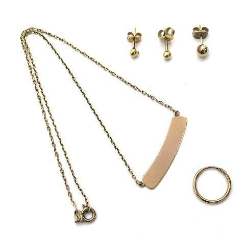 1a3dd556579 Halskæde og creoler ørering af 8 kt. guld samt 3 forgyldte ørestikker (5) |  ebuy.dk